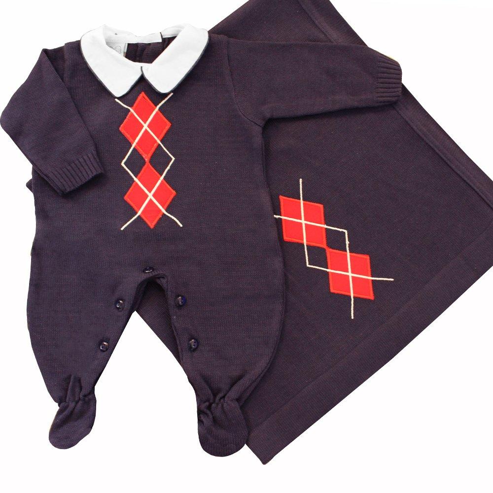 Saída de Maternidade Losango Cinza Tricot 2 Peças  372e7b4e41c