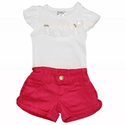 Conjunto de Bebê Body + Shorts Jeans Pink baab229fd97ab