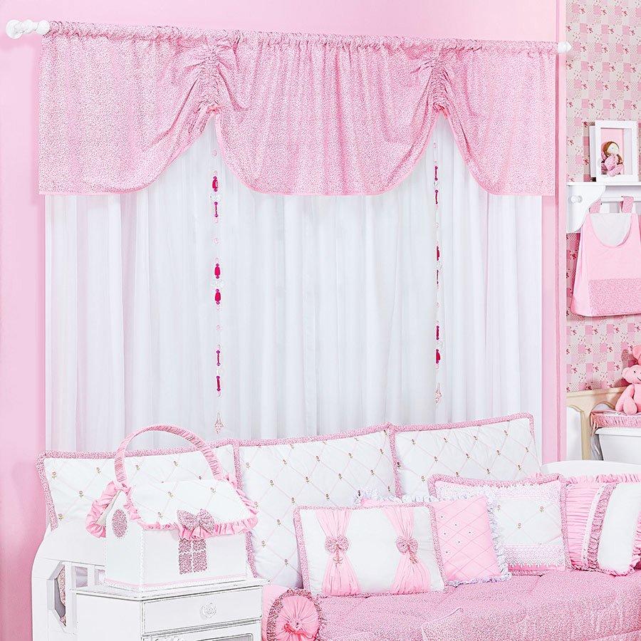 Cortina bot es para quarto de beb menina branco rosa essencial enxovais - Cortinas para bebe ...