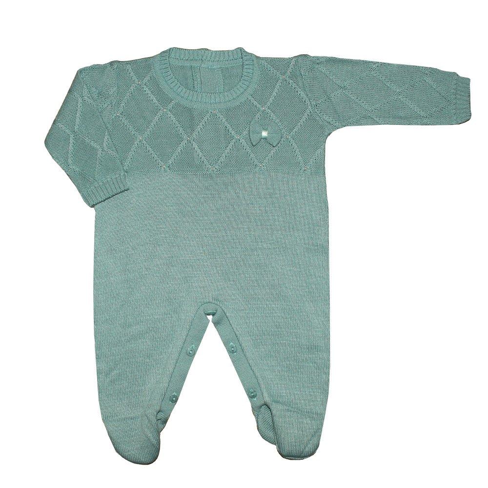 387787529382be Macacão Longo de Bebê Pérola Verde Tricot