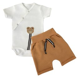 Conjunto de Bebê Body Off White e Shorts Mostarda