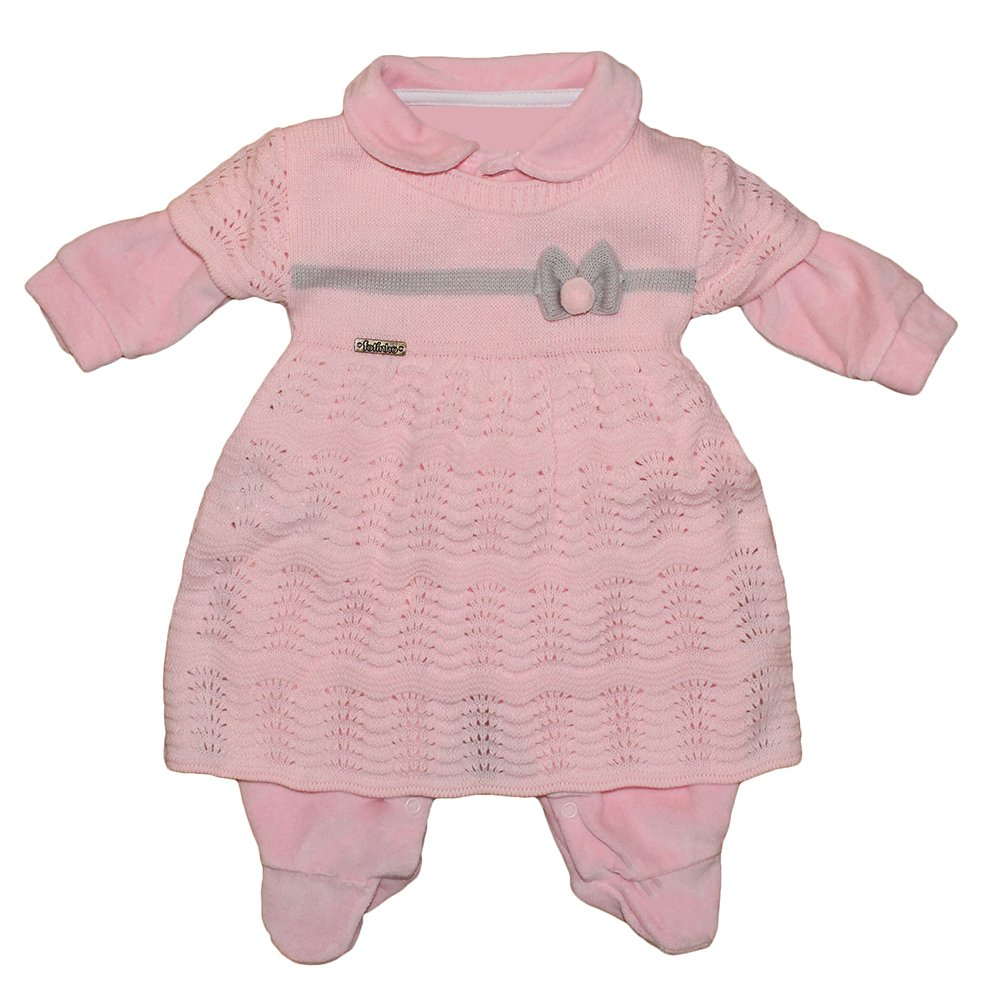 7b02dc0c747a0a Macacão Longo de Bebê Rosa Plush e Tricot 2 Peças   Essencial Enxovais