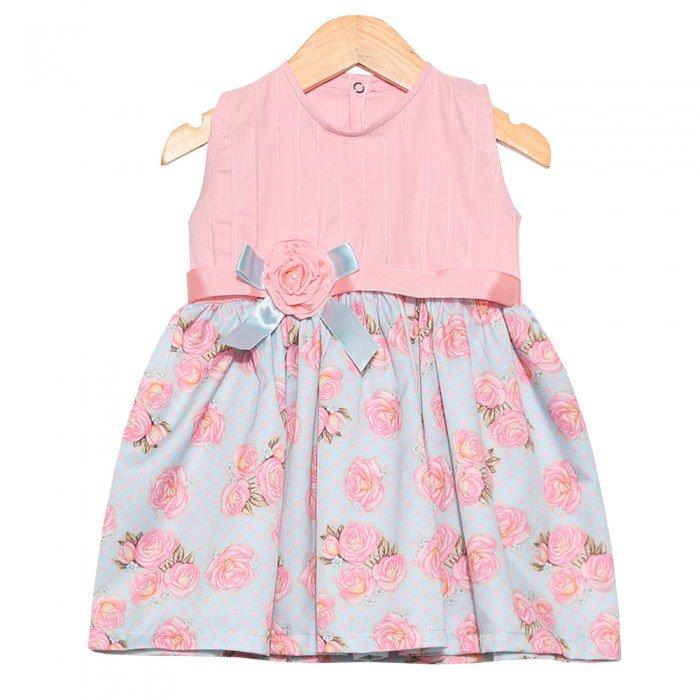 Vestido De Bebê Rosas Azul