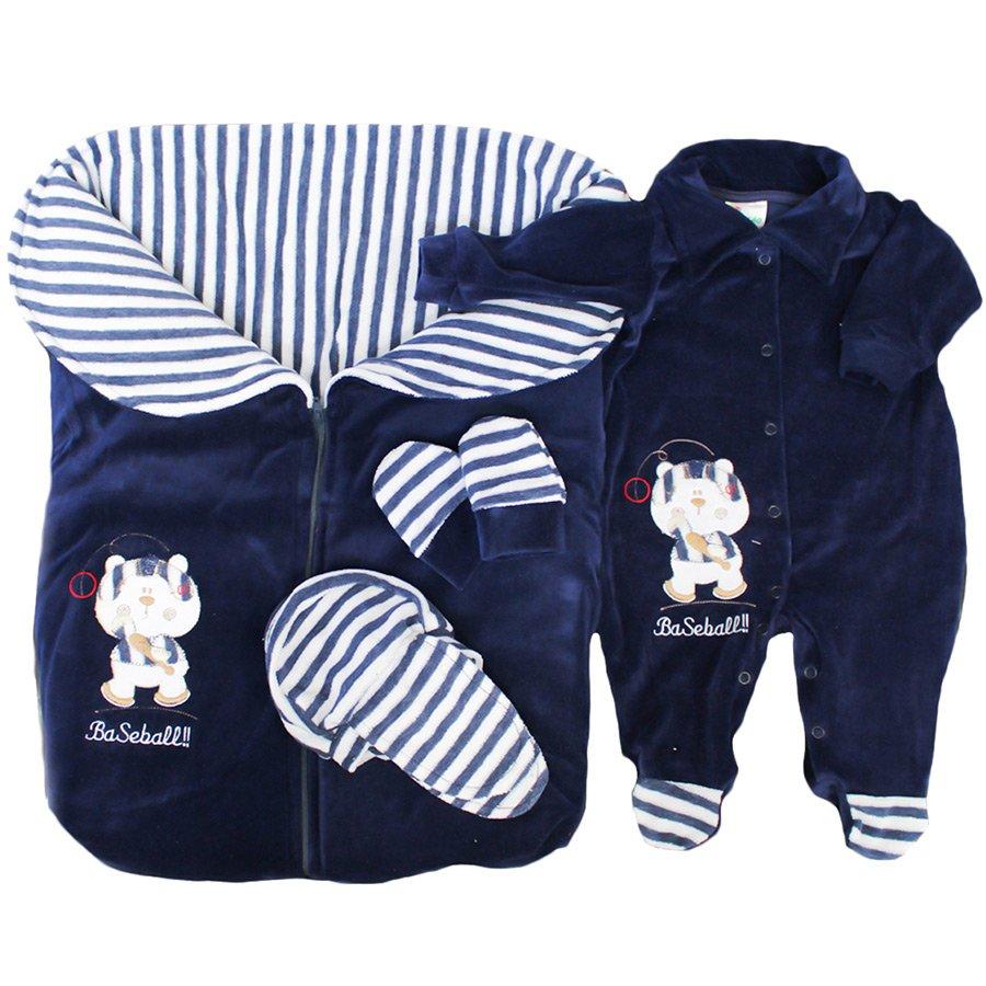 Saída de Maternidade Ursinho Basebol Plush Marinho 5 Peças 17505351cb2