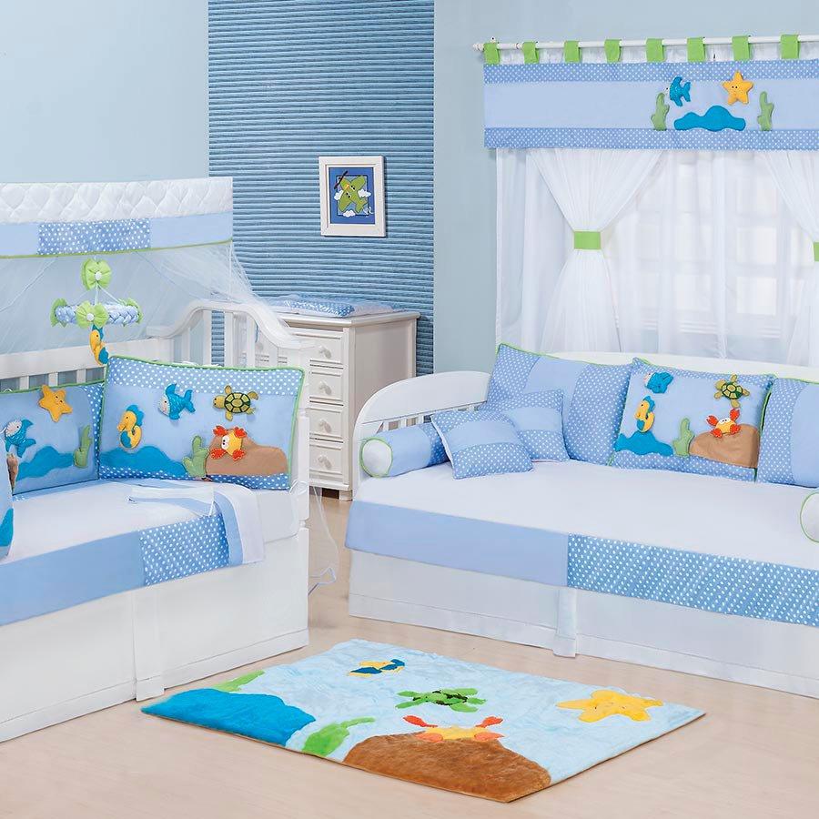 Quarto Completo Enxoval Beb Menino Aqu Rio Azul 100 Algod O  ~ Quarto Com Sofa Cama Com Quarto Decorado Menino