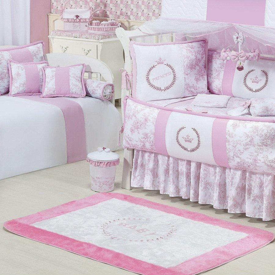 Tapete Para Quarto De Beb Menina Princesa Branco Rosa