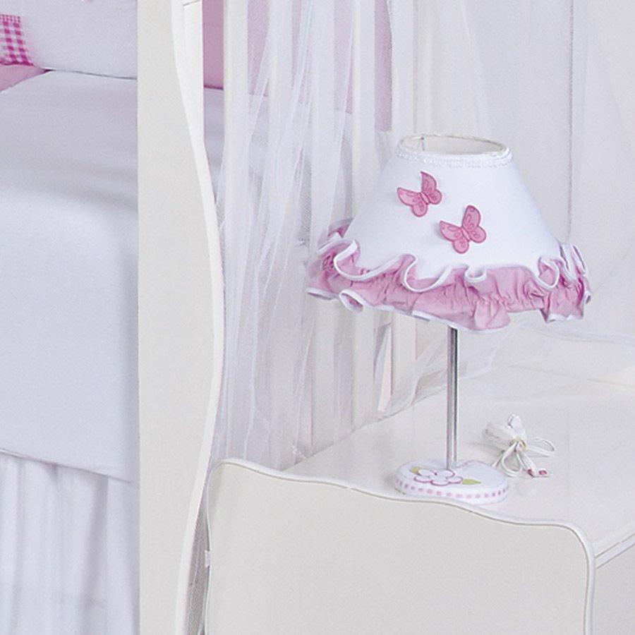 Abajur Para Quarto De Beb Menina Sofia Branco Rosa Essencial  ~ Abajur Para Quarto De Bebe Feminino