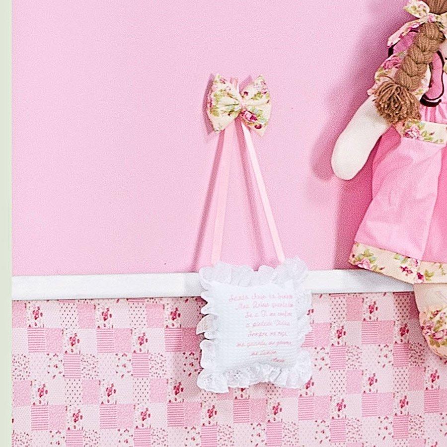 f6f0d263b22f2 Enfeite de Porta Para Quarto de Bebê Menina Butterfly Rosa Oração Santo Anjo