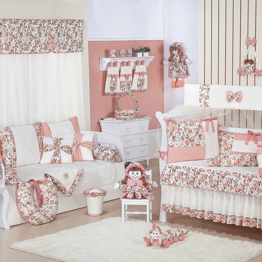 Quarto Completo Enxoval Beb Menina Glamour Salm O Floral  ~ Decoração De Quarto De Menina Bebê