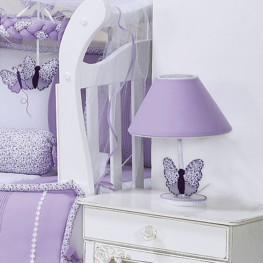 Quarto Completo Butterfly Lil S Branco Floral Enxoval Beb  ~ Abajur Para Quarto De Bebe Feminino