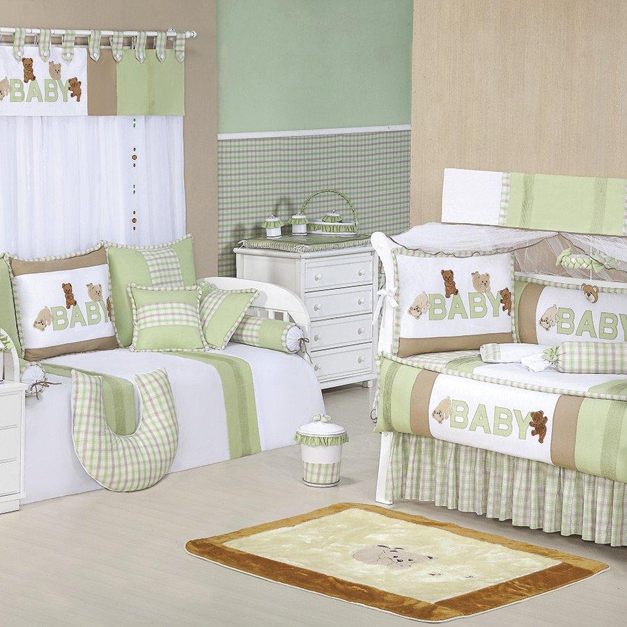 Quarto Completo Ursinhos Baby Verde Branco Bege Enxoval Beb  ~ Decoração Escrivaninha Quarto E Quarto Bebe Verde E Bege