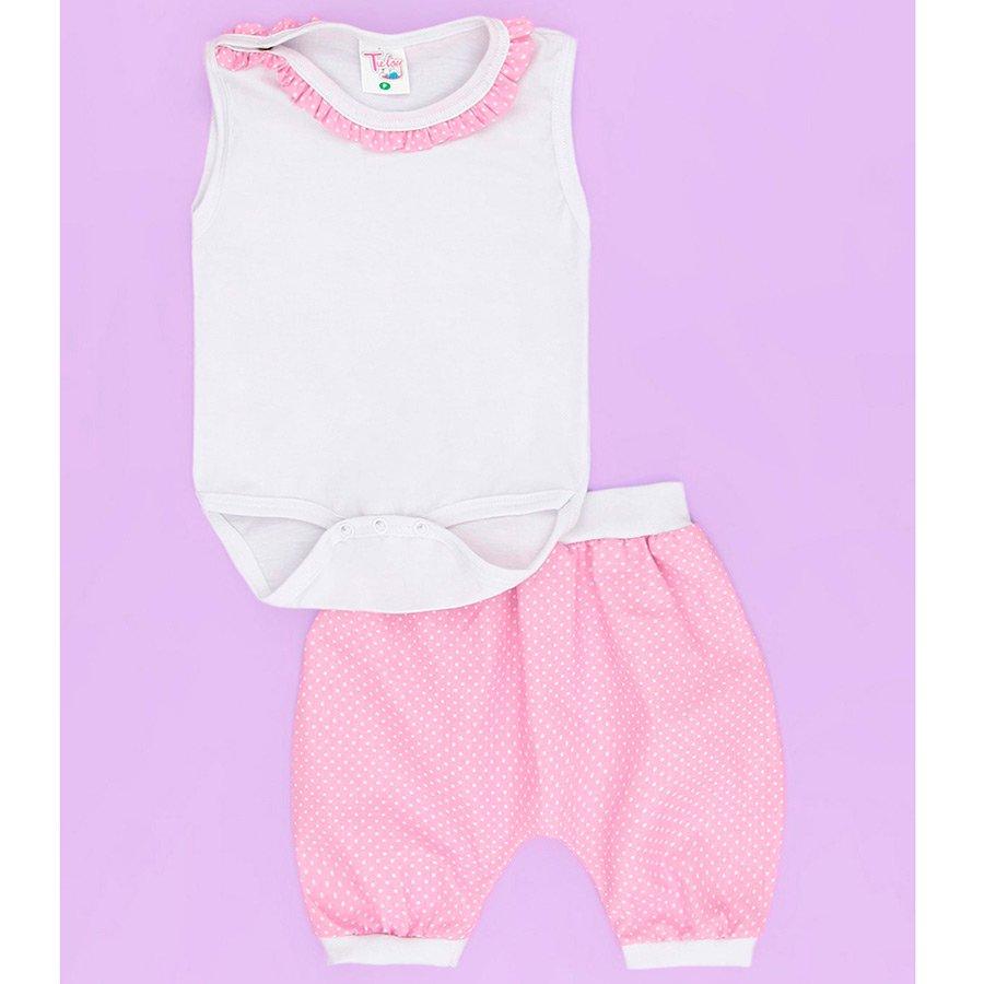 bfc55d9e89 Conjunto Body e Short Baby Branco Com Poá Rosa Bebê Menina 2 Peças ...