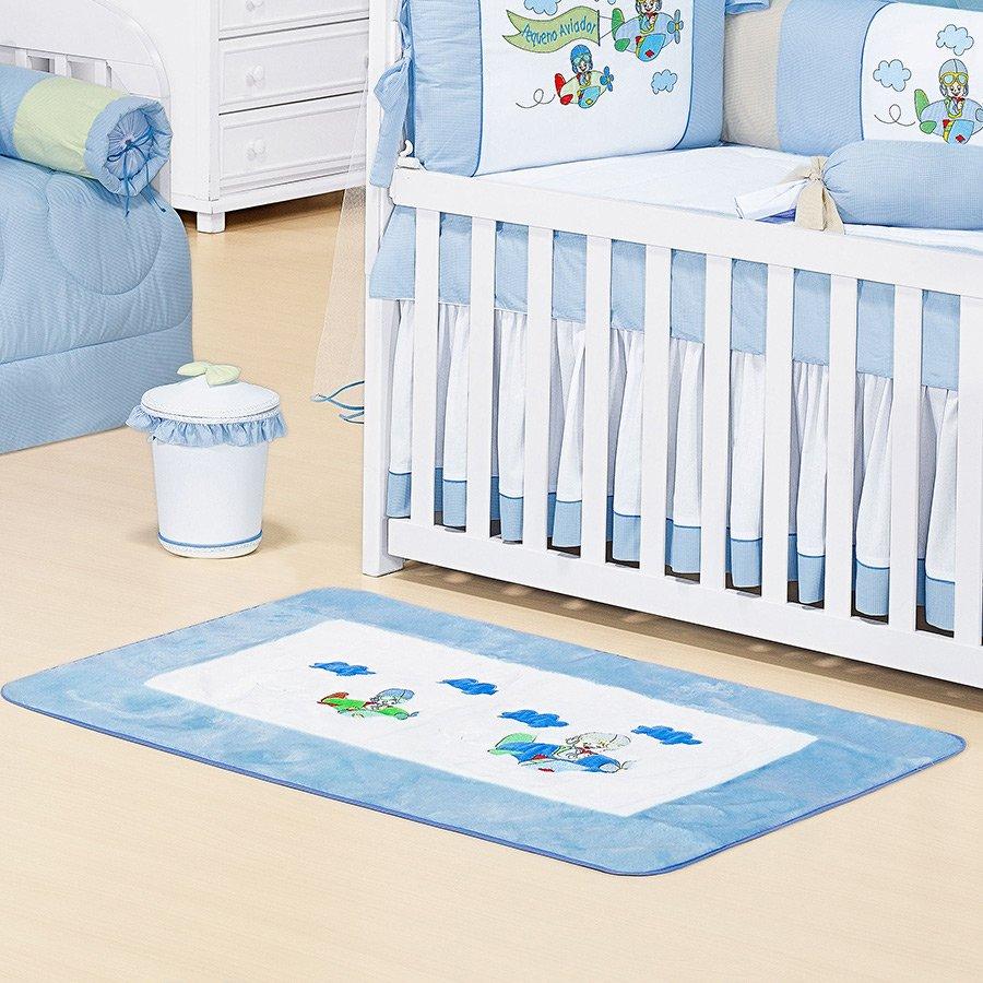 18ac530f6 Tapete de Pelúcia Aviador Antiderrapante Para Quarto de Bebê Menino Branco  - Azul