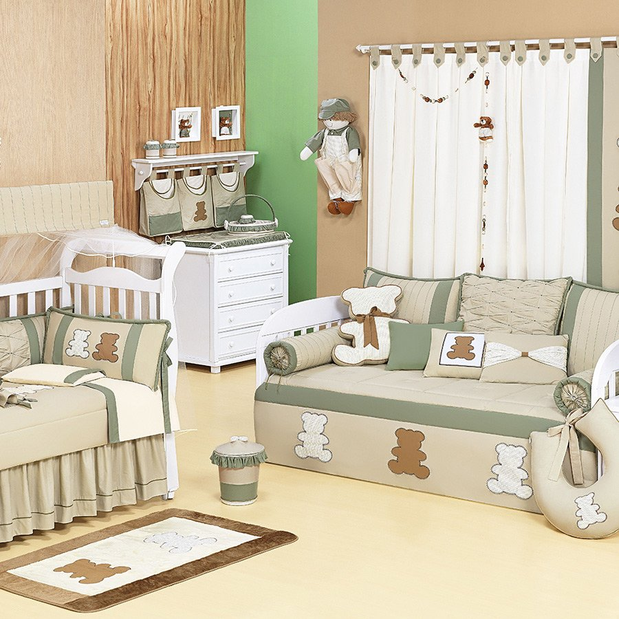 Quarto De Beb Completo Urso Harmonia Essencial Enxovais ~ Decoração Escrivaninha Quarto E Quarto Bebe Verde E Bege