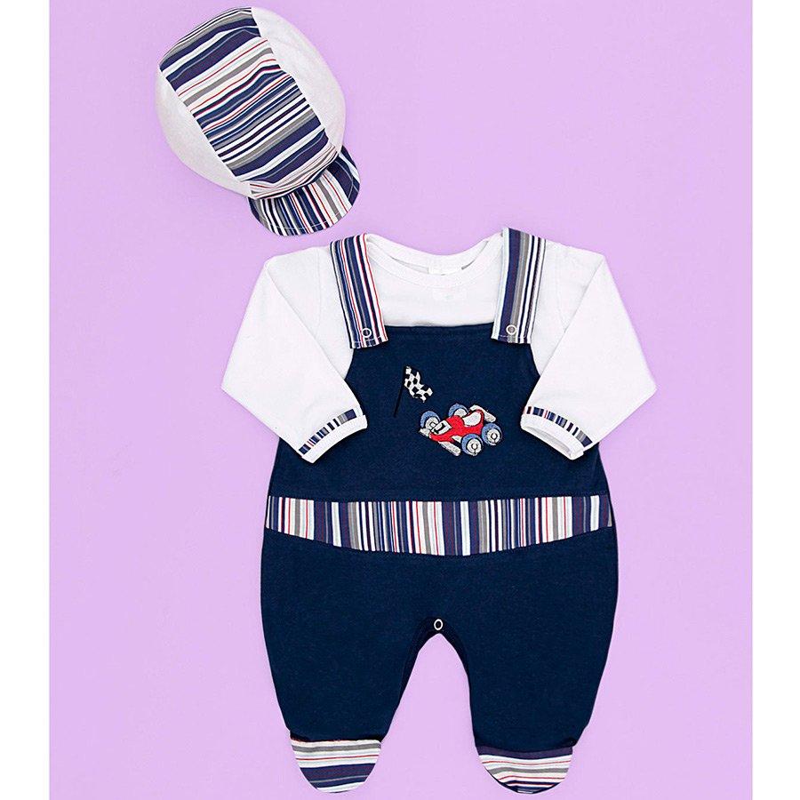 Saída Maternidade Carrinho Marinho 04 Peças Bebê Menino efda8cdb1297a