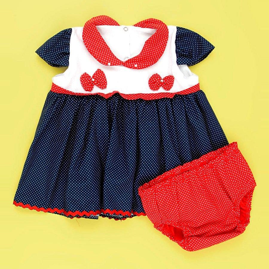 13a59cd71 Vestido Bonequinha Poá Azul Marinho - Vermelho e Calcinha Bebê Menina 02  Peças
