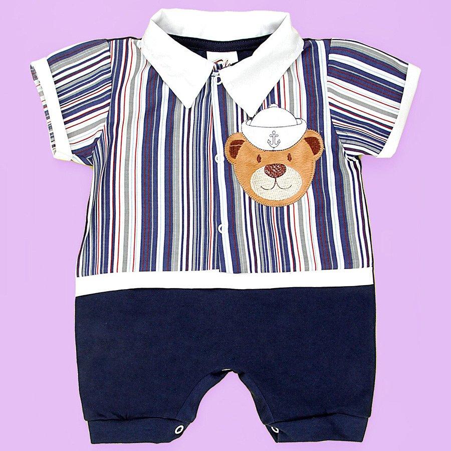 e80598d404 Macacão de Bebê Curto Urso Marinheiro Marinho
