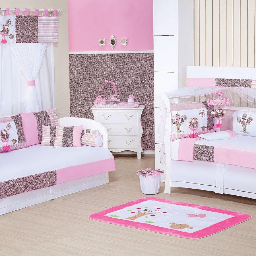 Quarto Completo Beb Menina Sem Enxoval Cama Bab Clarinha Rosa  ~ Cantinho Do Bebê No Quarto Do Casal