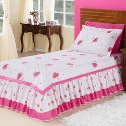 62b918309 Kit Colcha Solteiro Jéssica Branco - Rosa 100% Algodão 150 Fios