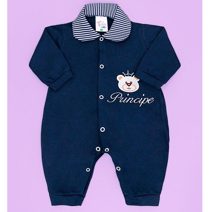 Macacão Manga Longa Príncipe Urso Azul Marinho Para Bebê Menino - RN ... 11719fa063fe