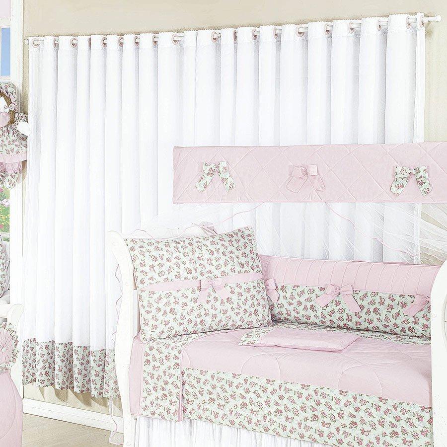 Cortina Amore 2 20 Metros Enxoval Beb Menina Branco Floral C  ~ Cortina Simples Para Quarto De Bebe