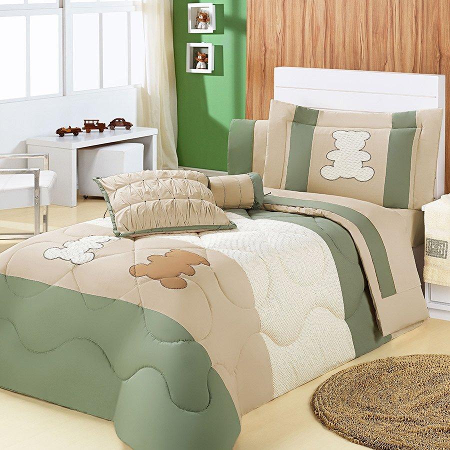 4755b297bf Kit Edredom Kids Urso Harmonia Cama Solteiro 04 Peças Bege - Verde