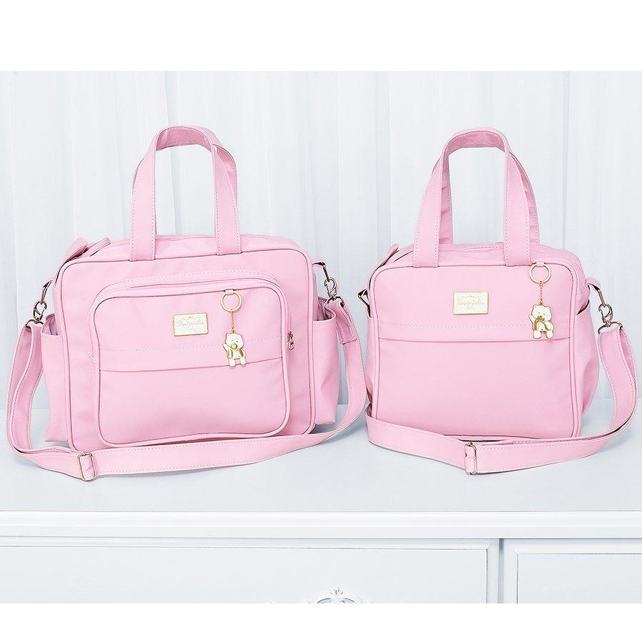 58f0fef76a9 Conjunto de Bolsas Maternidade Glamour Rosa 2 Peças