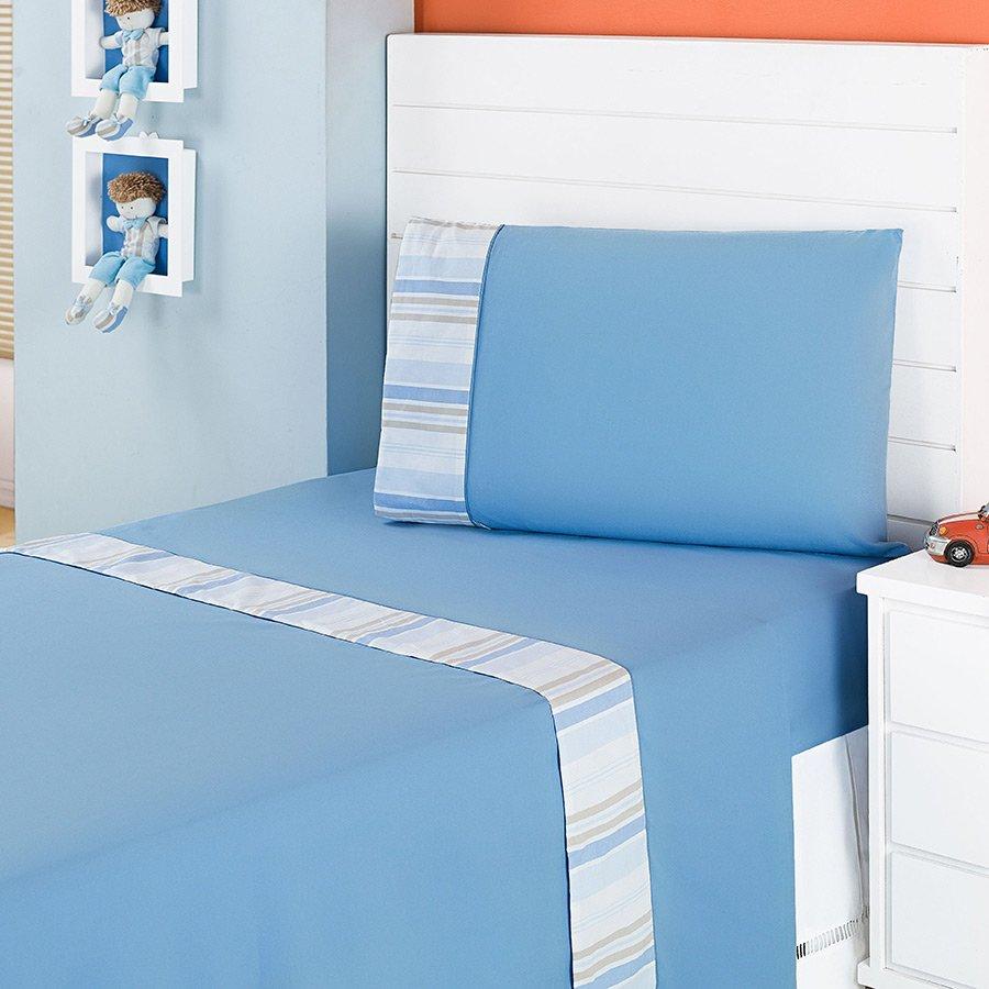 2076ff4b0b Jogo de Lençol Cama Solteiro Aventura Azul