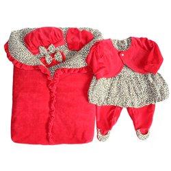 Saída Maternidade Oncinha Vermelho  c677bb6cdc0