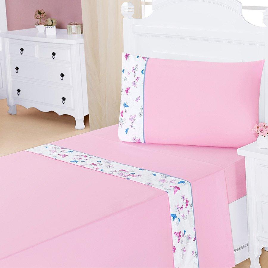 eb4fbdfd67 Jogo de Lençol Para Cama Solteiro Bella Butterfly Rosa 3 Peças