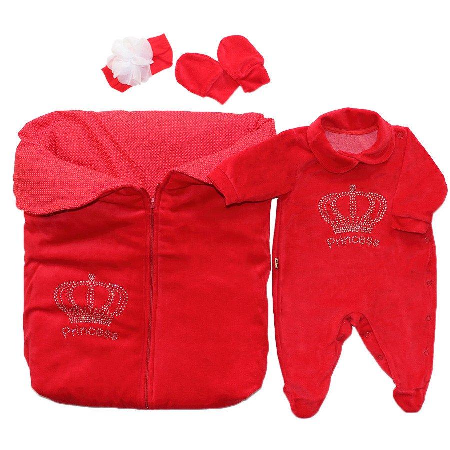 63f463a31a17 Saída de Maternidade Princesa Strass Vermelho 4 Peças Plush