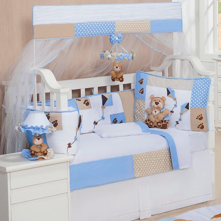 Fabuloso Kit Berço Papai Urso Azul e Branco 9 peças | Essencial Enxovais CP45