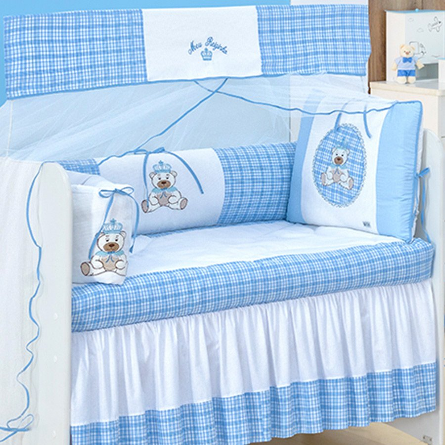 119036ecd8 Kit Berço Realeza Azul 9 Peças 100% Algodão
