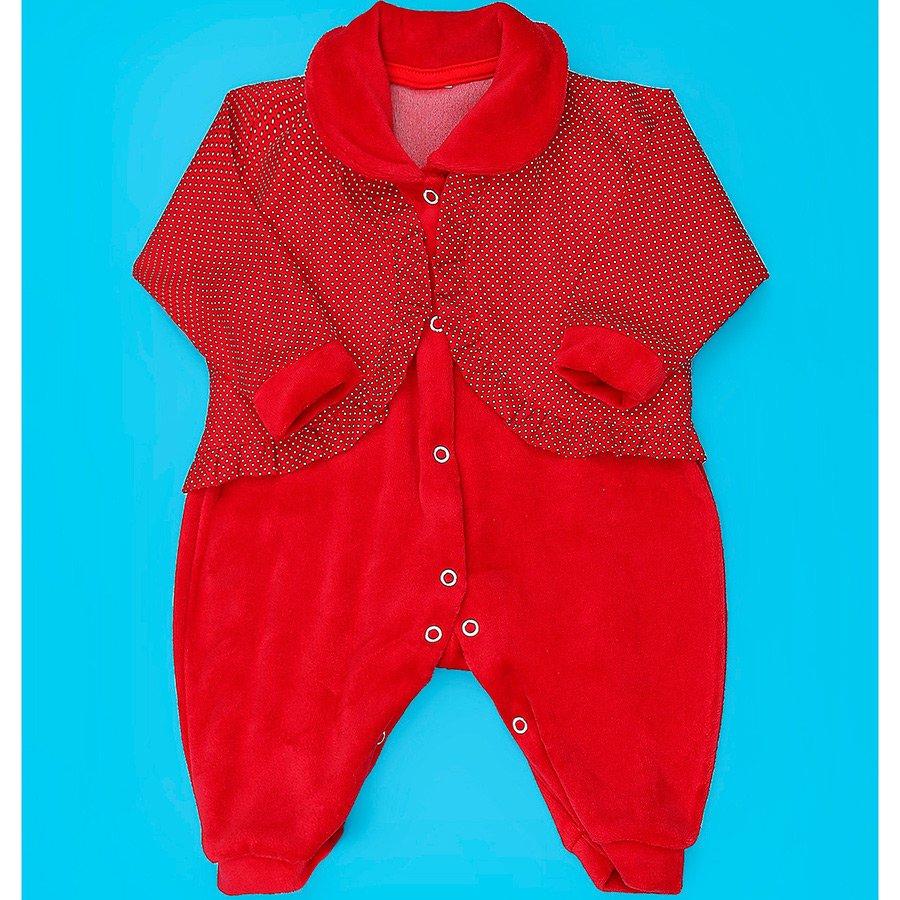 97c16a641f Macacão de Bebê Menina Vermelho + Casaco Manga Longa Plush