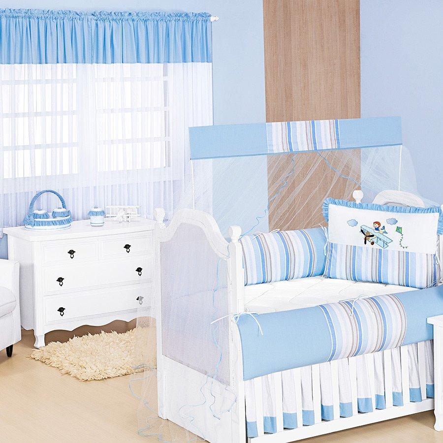 38fe22f9c Quarto Completo para Bebê Aviador Azul Sem Enxoval Cama Babá
