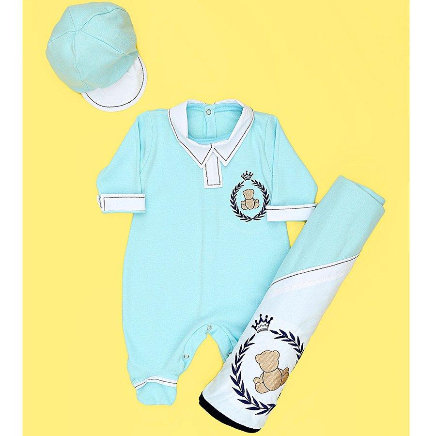 Saída de Maternidade Príncipe Urso Azul Bebê 3 Peças 98fe22f2064