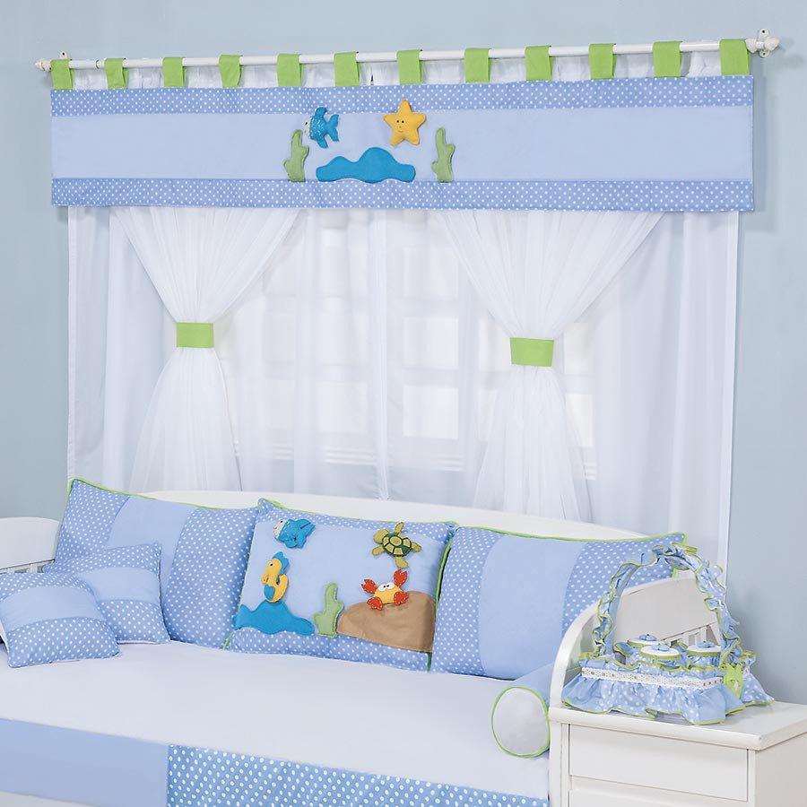 Cortina para quarto de beb aqu rio azul essencial enxovais Cortina para bebe