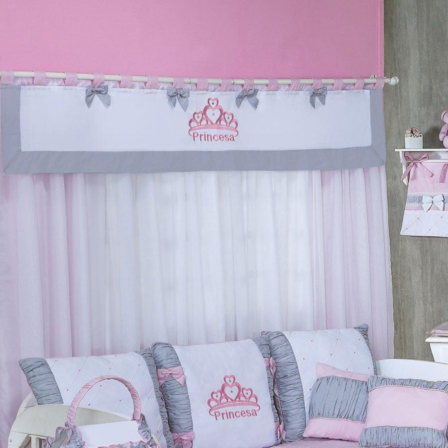 Cortina Princesa Var O Duplo 2 20m Enxoval Beb Branco Cinza Rosa