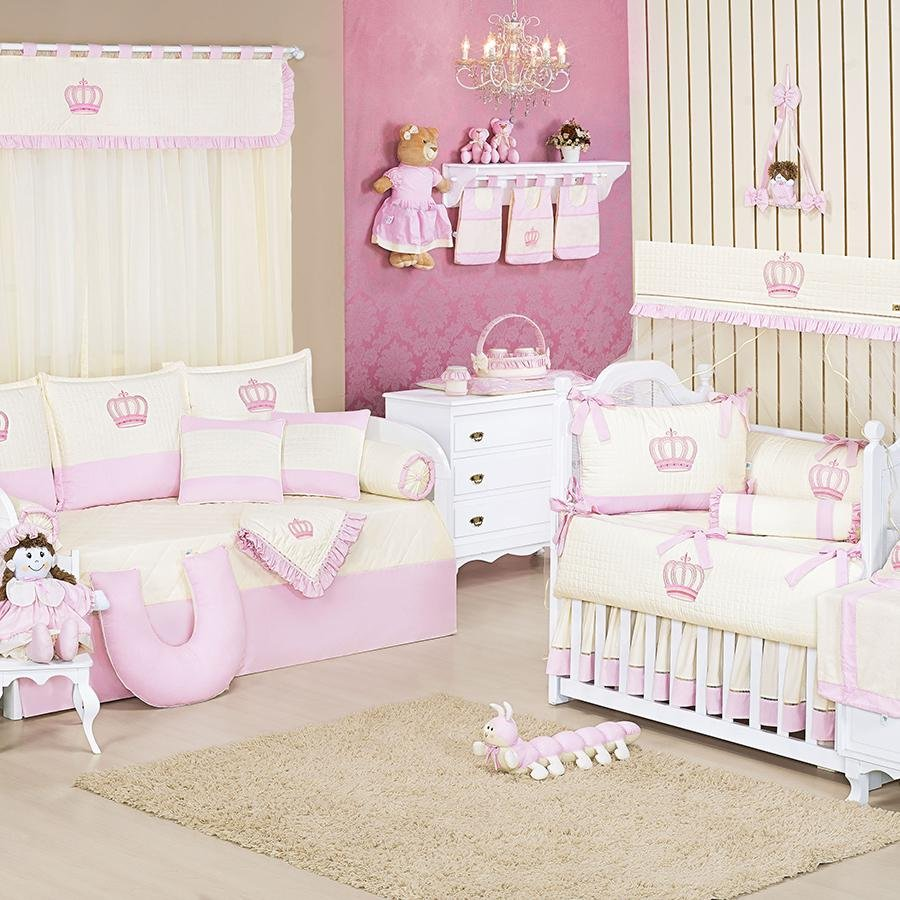 Quarto De Beb Realeza Rosa Essencial Enxovais ~ Quarto Do Bebe Menina Com Quarto De Bebe De Luxo