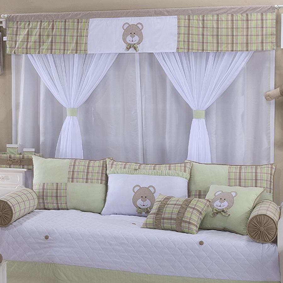 Cortina Quarto Beb Urso Baby Verde Essencial Enxovais ~ Decoração Escrivaninha Quarto E Quarto Bebe Verde E Bege