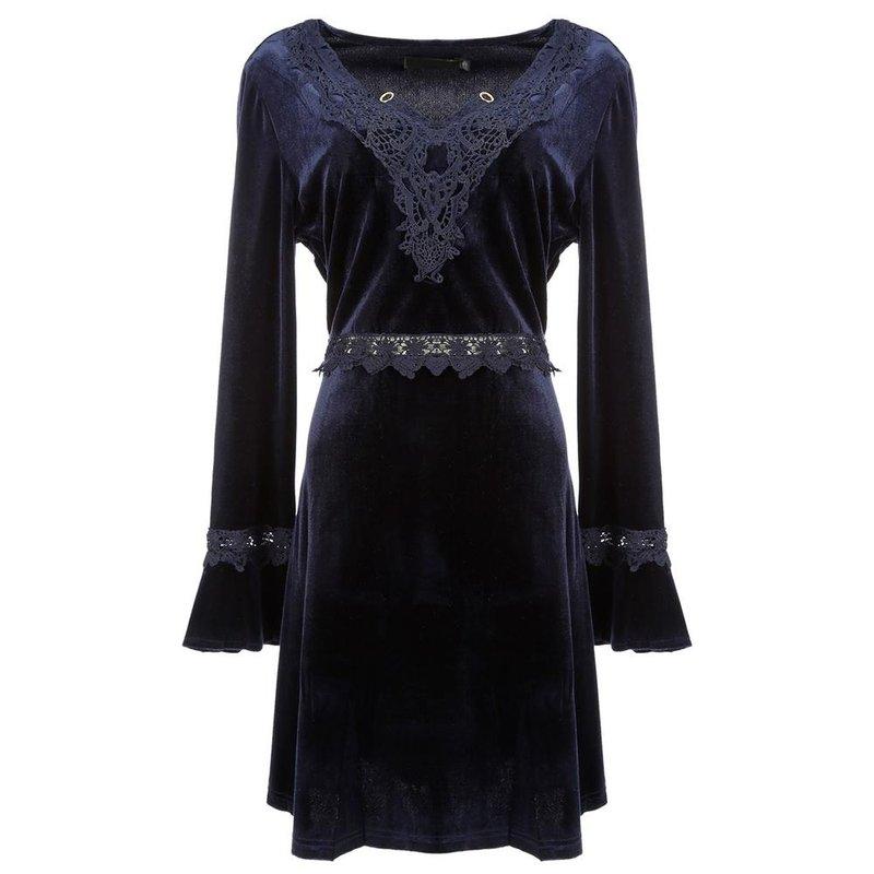 6558b9854a Vestido de Veludo Molhado Rendado C  Manga Flare e Pingente - Compre Agora  - Feira da Madrugada SP