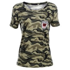Camiseta Camuflada Com Patch Bordado e Strass