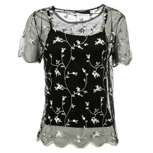 Blusa Tule Floral + Cropped