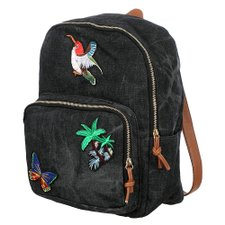 Mochila Jeans Com Patches