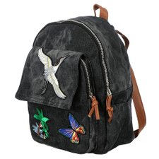 Mochila Casual Jeans Com Patches