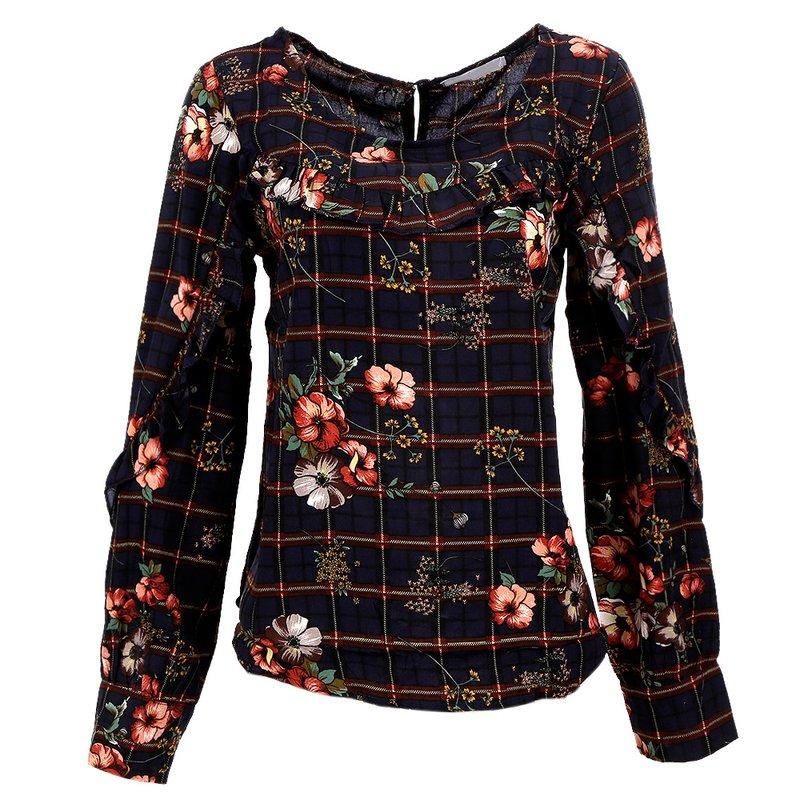 5f92dd48c0 Camisa Floral Com Botão e Babados - Compre Agora - Feira da Madrugada SP
