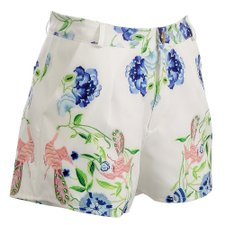 Short Floral de Cotton Bolsos Laterais