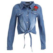 271af033a5 Camisa Jeans Com Patch E Amarração Na Barra