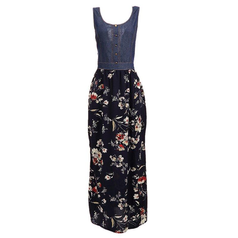 8fa08b3c00 Vestido Longo Florido Com Jeans No Busto - Compre Agora - Feira da  Madrugada SP