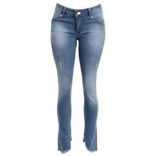 Calça Jeans Barra Irregular Destroyed